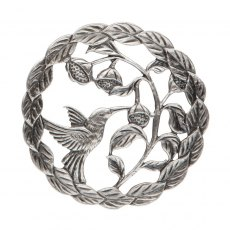 Pewter Lid - Bird with seeds