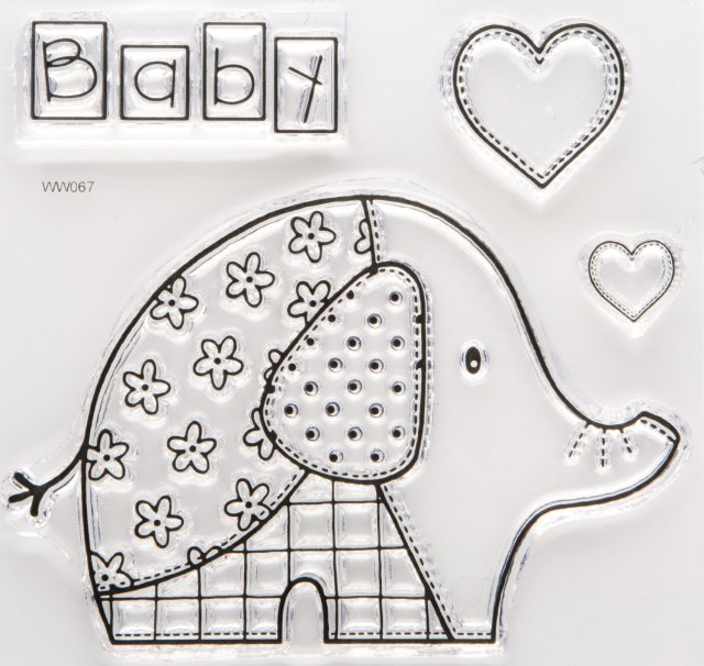 J80018 - Woodware Clear Stamp - Baby Patch Elephant